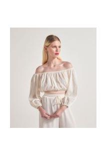 Blusa Cropped Ombro A Ombro Texturizada | A-Collection | Branco | G