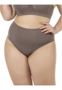 Calcinha Plus Size Cintura Alta E Frente Dupla Proteção Permanente - Feminino-Marrom