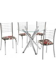 Conjunto Mesa Redonda Tampo De Vidro E 4 Cadeiras Encosto Aramado Eduarda E Alice Cozinha Fil Móveis Cromado