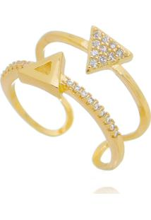 Anel Waufen Ajustavel Triangulos Zirconias Banho Ouro Branco
