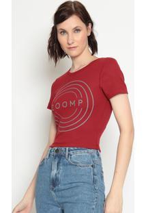 Blusa Cropped ''Zoomp''- Vermelho Escuro & Cinza- Zozoomp