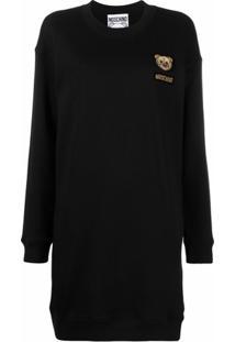 Moschino Vestido Com Aplicação De Logo - Preto