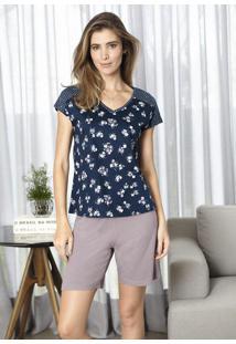 Pijama Feminino Em Malha De Algodão Com Estampa E Recorte Nas Mangas