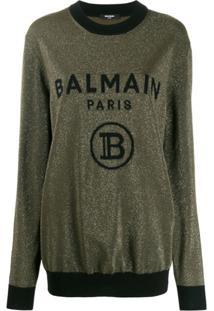 Balmain Suéter Com Logo Bordado - Verde