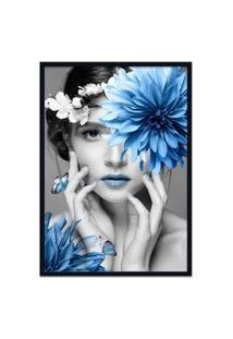 Quadro 60X90Cm Judith Mulher Com Flor Azul Nórdico Moldura Preta Com Vidro