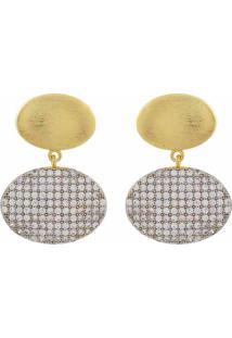 Brinco Narcizza Semijoias Duplo Oval Ouro Escovado Com Zircônia Cristal Ouro