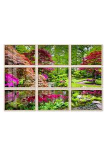 Quadro 90X120Cm Painel Jardim Japônes Em Haia Moldura Natural Com Vidro