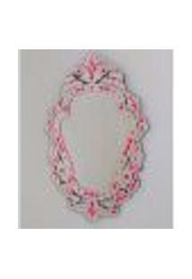 Espelho Veneziano Decorativo, Sala, Margarida Plus Rosa 61X88