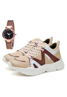 Tênis Sapatênis Plataforma Elegant Com Relógio Gold Feminino Dubuy 733La Rosa