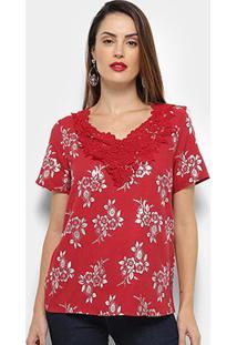 Blusa Efa Renda Bordado Floral Feminina - Feminino-Vermelho