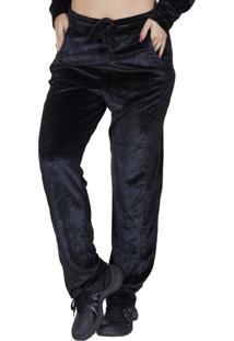 Calça De Veludo Orbis Com Modelagem Solta Preta - Kanui