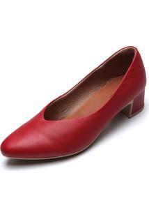 Scarpin Couro Usaflex Texturizado Vermelho - Vermelho - Feminino - Dafiti