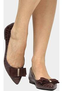 Sapatilha Shoestock Laço - Feminino-Marrom