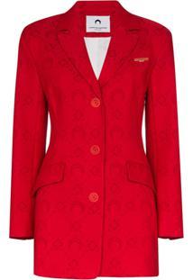 Marine Serre Moonogram Jacquard Tailored Blazer - Vermelho