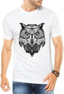 Camiseta Criativa Urbana Coruja Tattoo Style Illustration Tribal - Masculino-Branco