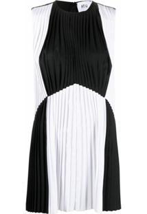 Atu Body Couture Vestido Bicolor Com Pregas - Preto