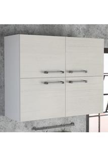 Armário Aéreo Cozinha Floripa Com 4 Portas Branco/Branco Tatto - Politorno
