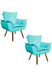 Kit 02 Poltrona Decorativa Opala Suede Azul Tiffany - D'Rossi