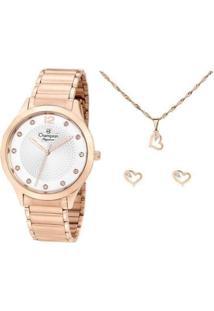 Kit Relógio Feminino Champion Analógico Elegance - Cn25903E Com Acessórios - Feminino-Rose Gold
