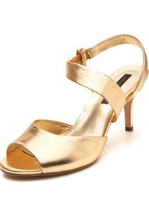 Sandália Couro Jorge Bischoff Metalizada Dourada