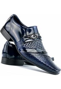 Sapato Social Masculino Venetto Verniz - Masculino-Azul