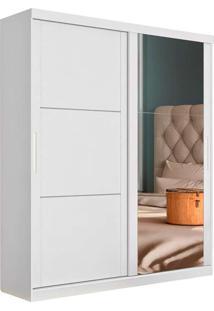 Guarda Roupa Solteiro 2 Portas Com Espelho Pratico - Robel - Branco Madeirado