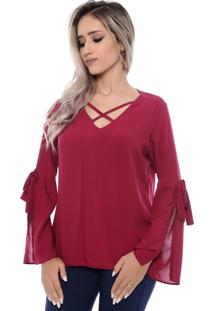 Blusa Viscose B'Bonnie Milena Bordô