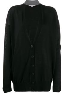 Stella Mccartney Cardigan Gola V Oversized - Preto