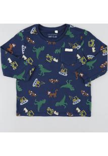 Camiseta Infantil Estampada De Dinossauros Manga Longa Gola Careca Azul Marinho