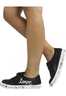 Tênis Damannu Shoes Love Napa Feminino - Feminino-Preto