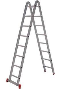 Escada Multifunção De Alumínio 8X2 Com 16 Degraus-Botafogo-Esc0579