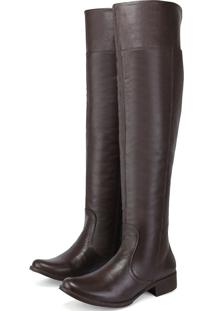 Bota Montaria Cano Alto Over The Knee Em Couro Ec Shoes Café