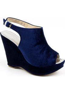 Sandalia Flor Da Pele Azul 3003 - Feminino-Azul