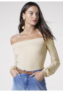 Blusa Em Malha De Tricô Ombro A Ombro