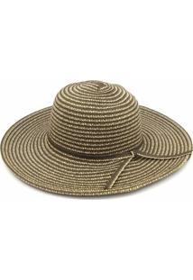 Chapéu De Praia Floppy Listras Marrom - Feminino-Marrom