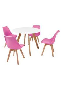 Mesa Inês 100Cm Branca + 4 Cadeiras Leda - Rosa