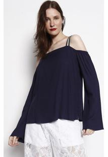 Blusa Com Vazado- Azul Marinho & Preta- Wool Linewool Line