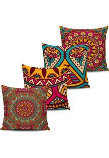 Kit 4 Capas Almofadas Decorativas Mandala Laranja 45X45Cm - Multicolorido - Dafiti