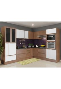Cozinha Completa 15 Módulos 19 Portas Calábria Multimóveis Nogueira/Branco Acetinado Texturizado