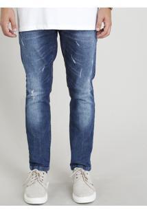 Calça Jeans Masculina Skinny Com Puídos Azul Escuro