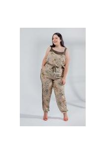 Calça Estampada Almaria Plus Size Miss Taylor Faixa Lateral Bege