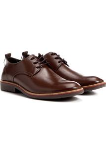 Sapato Casual Shoestock Amarração Bico Redondo - Masculino-Marrom