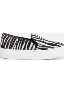 Tênis Feminino Slip On Animal Print Zebra Em Couro Satinato