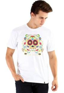 Camiseta Ouroboros Manga Curta Caveira - Masculino-Branco