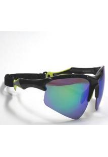 Óculos De Sol Jf Sun Bold-Preto Brilho E Amarelo-Verde Espelhado