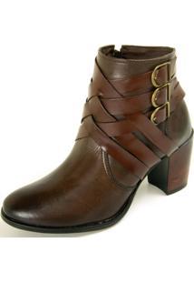 Bota Ankle Boot Dhatz Não Possui Cadarço Com Fivela Pinhão