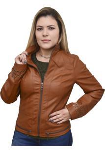 Jaqueta Corazzi Leather Deluxe Taxas Caramelo
