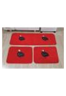 Tapete Para Cozinha De Pelúcia Galinha Angola Vermelho 3 Peças Antiderrapante