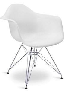 Cadeira Com Braços E Pés Cromados Flórida Siena Móveis Branco