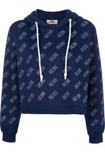 Gcds Blusa De Moletom Com Logo Cropped - Azul